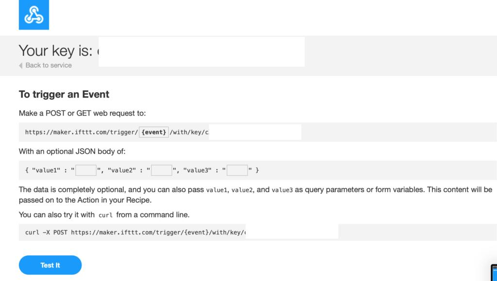 IFTTT Webhook Documentation