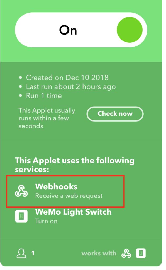 IFTTT Webhook Link