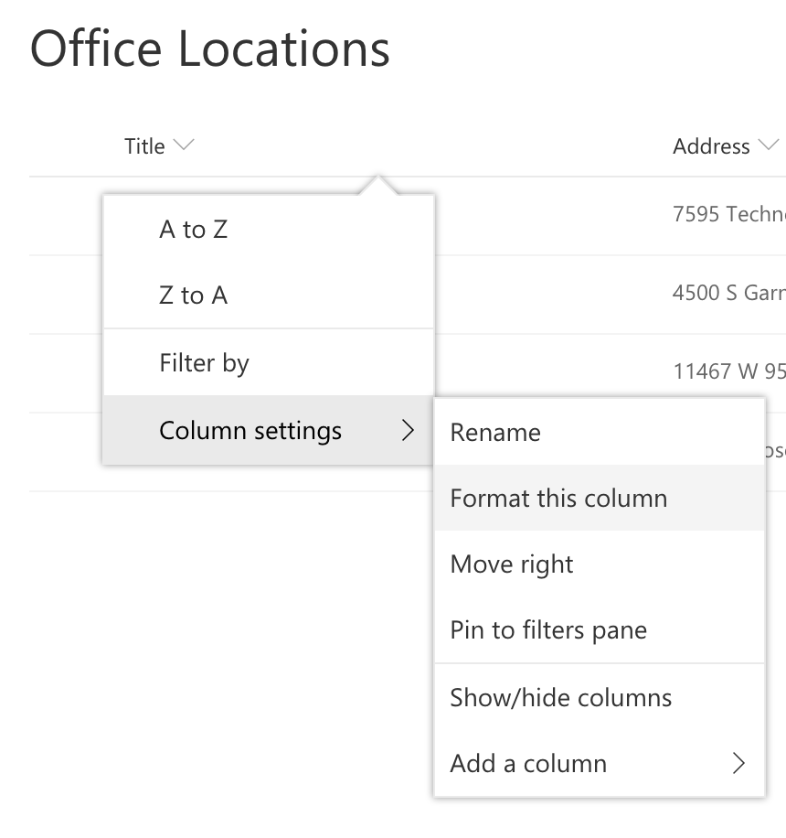 Column Formatting Option